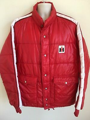 Vintage International Harvester Swingster Red Puffer Jacket Coat Mens Sz XL USA
