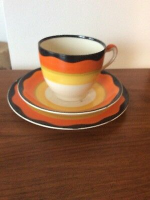 Grays Pottery 1930's Art Deco Banded Trio Black/orange