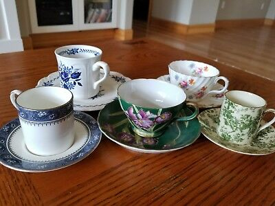 Lot of Five Vintage English Tea Cup and Saucer Sets,  Bone China