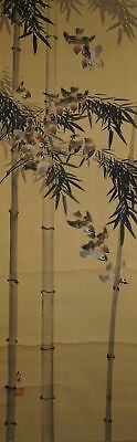 Sparrows and Bamboo Kakemono Roll-Up Japanese Hanging Scroll Japan Art 3363