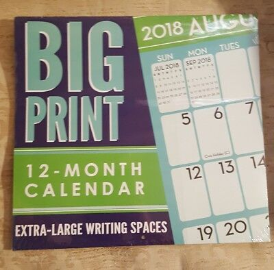 SALE! 2018 Wall Calender. 12 month Big Print- Extra large writing spaces
