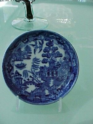 Beautiful English Antique 19th Century Porcelain Blue Willow Small Dish Plate