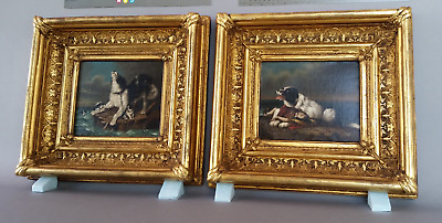 Antique 19Th Century Victorian Period Oil On Canvas Dogs Paintings