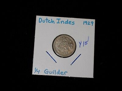 NETHERLANDS EAST INDIES 1/4 Gulden Coin dated 1929 - 0.7200 Silver
