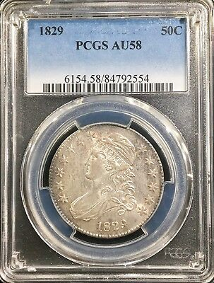 1829 Capped Bust Half Dollar PCGS AU58*FULL OF LUSTER!!! LOOKS MS63++++