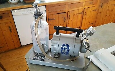 Vintage Sklar Compressor Unit Medical Dental Suction Vacuum Pump w Glass Bottle