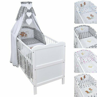 Babybett Kinderbett Juniorbett 120x60 Weiß Bettset Applikation komplett