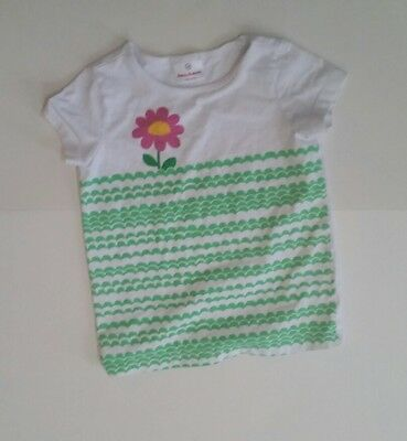 Hanna Anderrson Girls Size 120 6-7 t shirt white with green design and flower