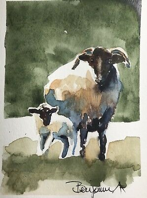 "Original Nova Scotia Watercolor Art, Garden Art, ""Mother And Lamb"", Not A print!"