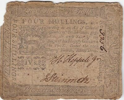 1773 Pennsylvania Four 4 shilling Colonial Note, US Paper Money