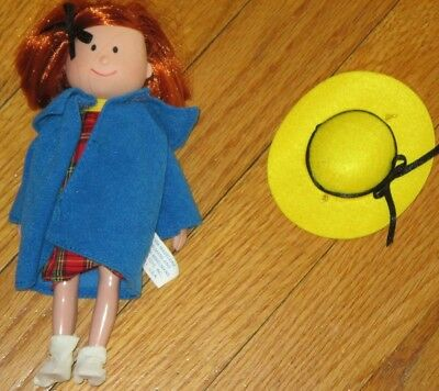 Madeline Doll 7in Curved Hands Hat Coat Plaid Dress Hairbow Socks Retired 1994