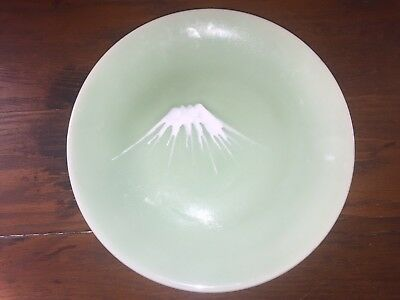 Antique Japanese Celadon Green Serving Platter Plate Mt. Fuji