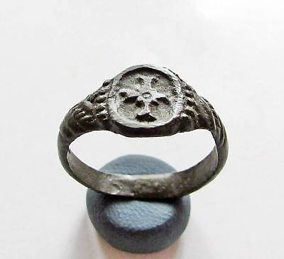 Ancient Byzantine Bronze Ring.cross Ring.