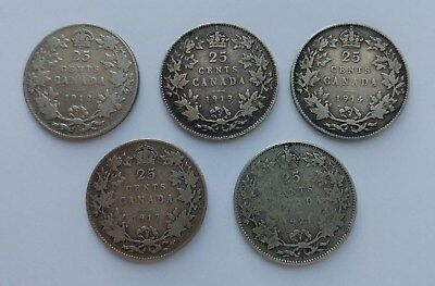 *** Canada Lot Of Five 25 Cents ***