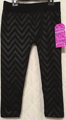Just 2 Cute Girls Fleece Lined Leggings Black SZ 4/5 NWT