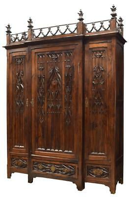 HEAVILY CARVED GOTHIC REVIVAL ARMOIRE, 19th century ( 1800s )