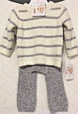 Cuddl Duds Baby Striped Sweater & Pants Set Grey Flannel SZ 6M
