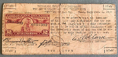 Philippines WWII Emergency & Guerrilla 2 Pesos with Stamp from Cagayan Province