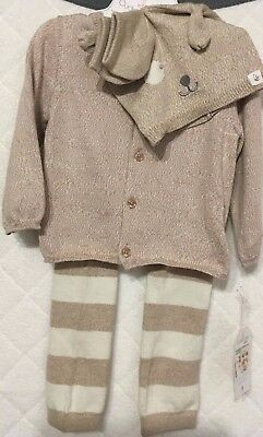 Cuddl Duds Baby 4-pc. Layette Set Sweater/Pants/Hat/Socks Irish Cream SZ 9M NWT