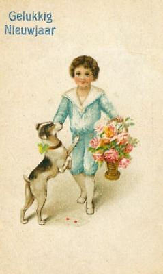 Old Postcard Fox Jack Russell Dog & Little Boy Happy New Year Netherlands 1921