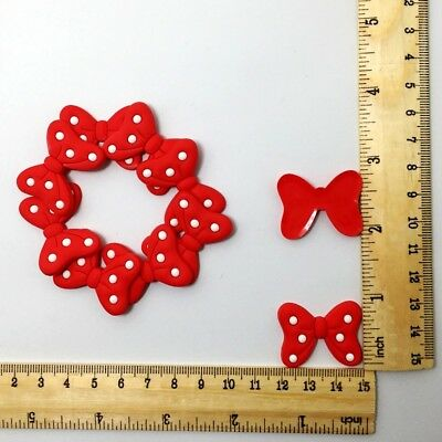 Red Bowknot Flatback Shoe charms For Scrapbooking Phone Party Decoration 10pcs