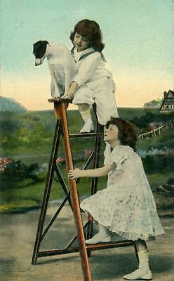 Old Postcard  Smooth Jack Russell / Fox Terrier Children Ladder 1910 USA
