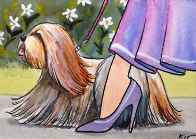 ACEO Original By Kit Lundwall Watercolor Ink Dog Lhasa Apso Woman Heels