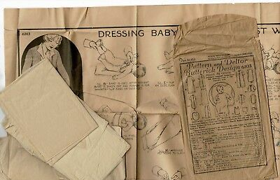 1923 Butterick Pattern Infant's Layette w/ Instructions on How to Dress a Baby
