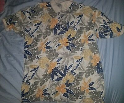 Bamboo Cay Fine Resort Wear Men's Pineapple flowers colorful Shirt Size L polo