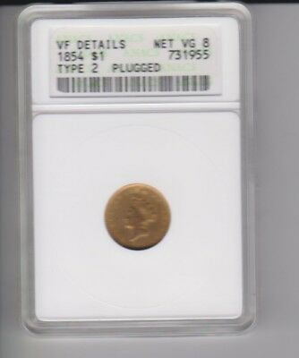 1854 GOLD dollar Type 2 ANACS VF details net VG8 plugged good value