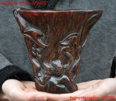 Chinese Ox horn Horns carved carved squirrel animal statue Goblet Wineglass Cup