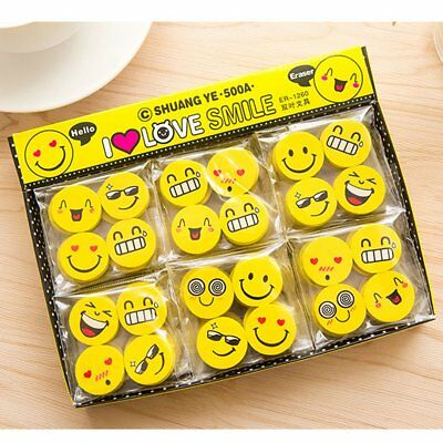Funny Emoji Rubber Pencil Eraser New  Cute Students Stationery Gifts 4PCS Random