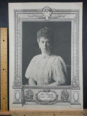 Rare Antique Original Vintage 1911 Her Majesty Queen Mary Photogravure Art Print