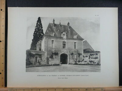 Rare Antique Original Vintage Great Gate House Of Saumery Photogravure Art Print