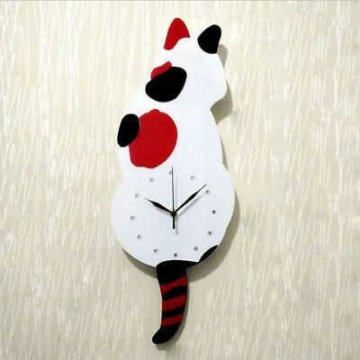 Cartoon Wall Clocks Cat Dog Clock with Wag Swing Tail for Bedroom Home DIY Decor