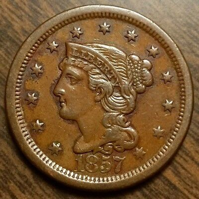 1857 Large Date Braided Hair Large Cent