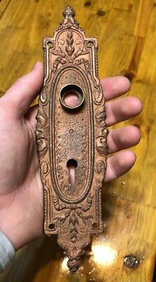 Antique VICTORIAN Ornate Cast Iron Door Knob Back Plate w/ Escutcheon Vintage