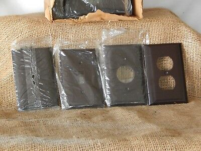 NOS VINTAGE LOT 37 pcs. BROWN BAKELITE SIERRA STA-KLEEN USA SWITCH PLATE COVERS!
