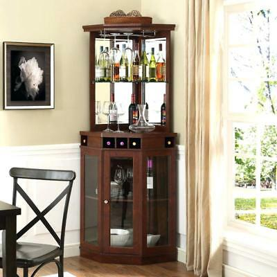 CORNER HOME BAR Wine Rack Buffet Cabinet Living Room Storage Glass ...