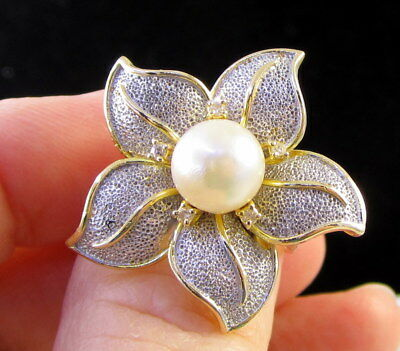 Estate Vintage Huge Akoya Pearl Diamond 14K Gold Flower 9.9 Gram Statement Ring