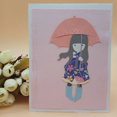 Girl Umbrella Metal Cutting Dies Stencil Scrapbooking Paper Embossing Card Craft