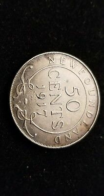 1917 . Canada . Newfoundland . Fifty Cents . Silver . 50 c . Better Grade
