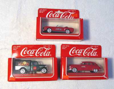 Lot of 3 1/43 SCALE DIE CAST COCA COLA Mustang Cadillac 36  64