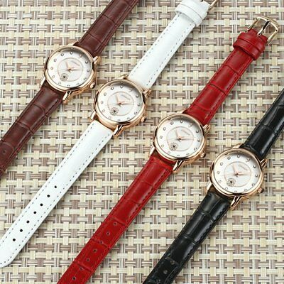 Water Resistant Quartz Watch with Leather Band & Rhinestone Decor for Women G4U