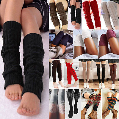 Womens Leg Warmers Cable Knit Thigh High Over Knee Socks Leggings