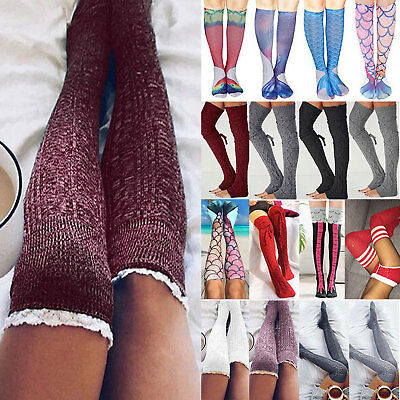 Womens Over The Knee Long Socks Lace Knit Warm Soft Thigh High Stocking