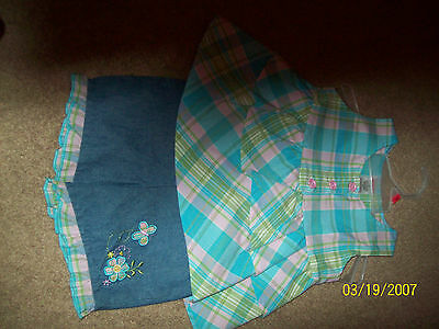 Fisher Price 2 piece outfit pink blue green plaid blue jean shorts 3Tbutterflies