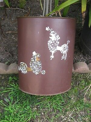 Vintage Ransburg Metal Trash Can Brown Color W/ 2 Poodles - 1 White & 1 Black