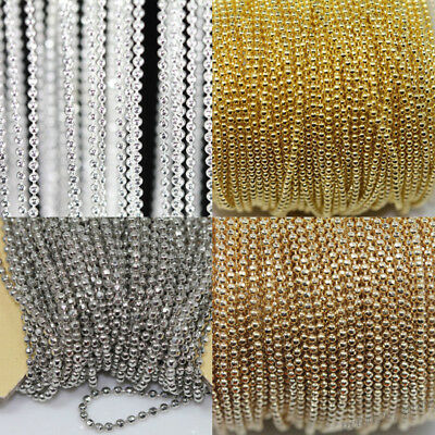 5M Metal Round Beads Ball Long Chain Necklace Fashion Jewelry Making Findings