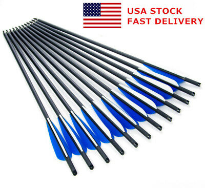 "US STOCK 12PCS 20"" 8.8mm Carbon Arrow Crossbow for Archery Shooting Hunting"